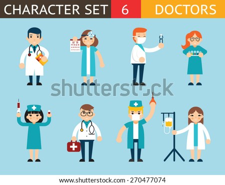 Doctor and Nurse Characters Madical Icon Set Symbol with Accessories on Stylish Background Flat Design Concept Template Vector Illustration - stock vector