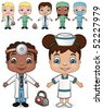 Doctor and Nurse Children set 2 - vector illustrations.  Shadow is on a separate layer for easy removal. - stock vector