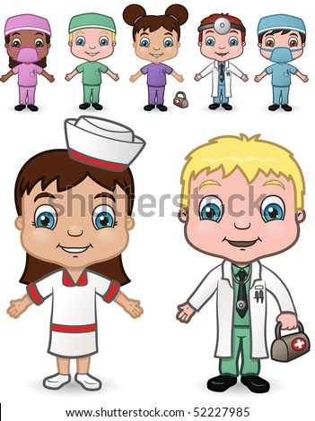 Doctor and Nurse Children set 4 - vector illustrations.  Shadow is on a separate layer for easy removal. - stock vector