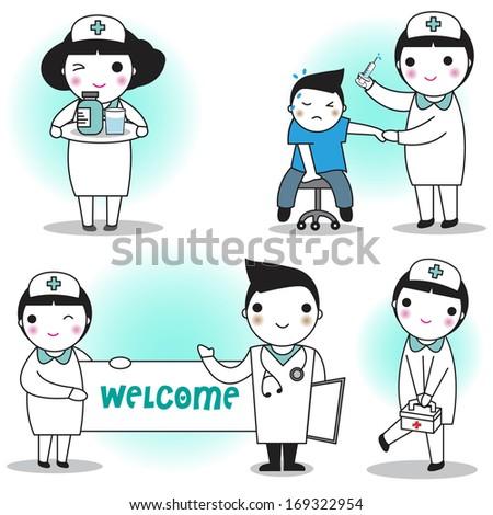 Doctor and nurse illustration set - stock vector