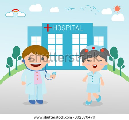 doctor and nurse medical, Doctor and nurse at hospital, Vector Illustration  - stock vector