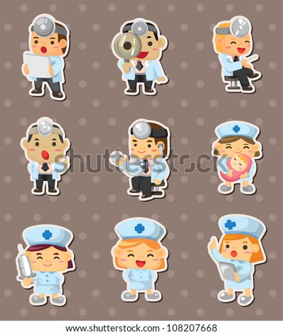 doctor and nurse stickers - stock vector