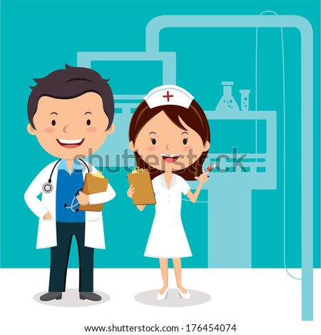 Doctor and Nurse. Vector illustration of a smiling doctor and nurse on the background of hospital ward. - stock vector