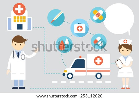 Doctor and nurse  with Icons and Copy Space - stock vector