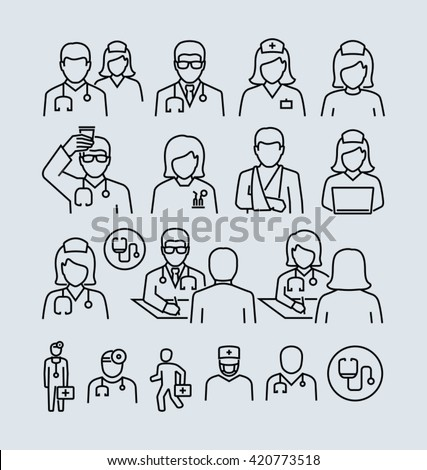 Doctor and Patient Nurse Vector Icons  - stock vector