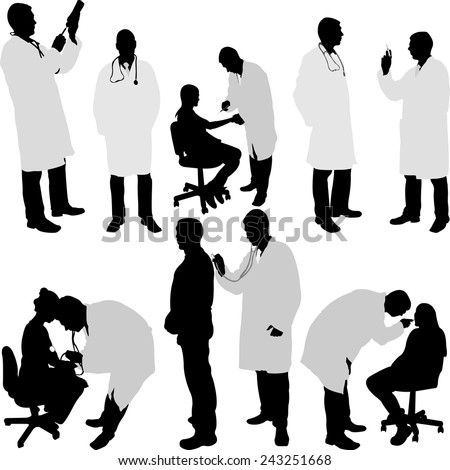 doctor and patient silhouette - vector illustration - stock vector