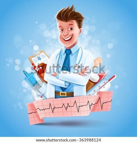 doctor banner health care - stock vector