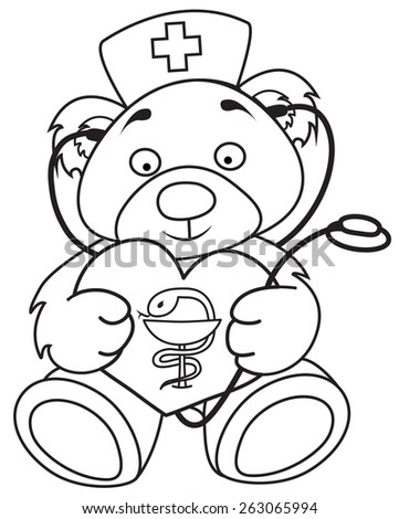 Doctor bear with heart, medical sign, stethoscope and medical hat. - stock vector