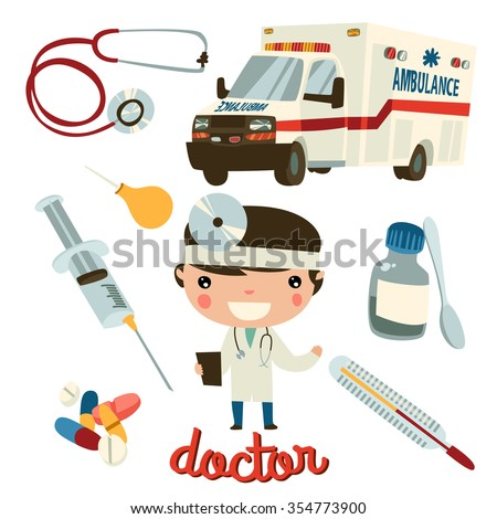 doctor boy cute character. medic tools set. - stock vector