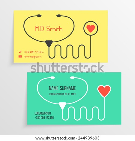 Doctor Card Template Stethoscope Icon Concept Stock Vector ...