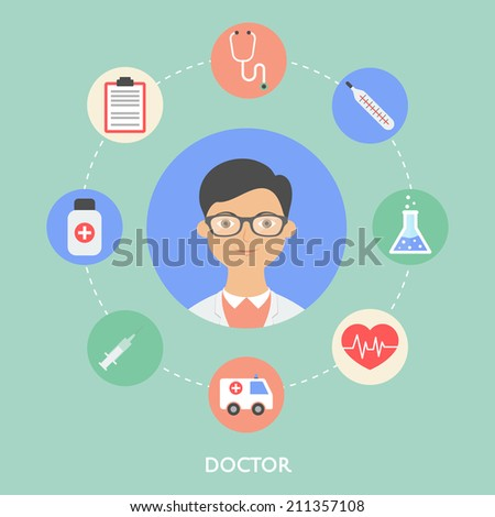Doctor, character illustration, icons. Vector flat style - stock vector