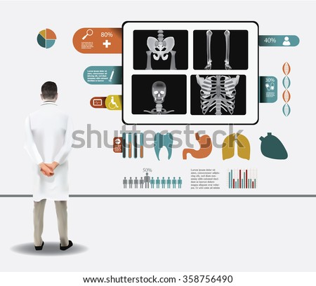Doctor checking the X ray results, medical infographic - stock vector