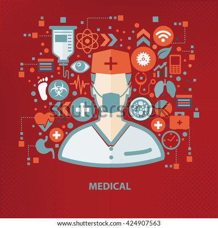 Doctor concept design on red background,vector