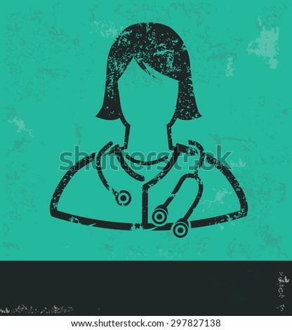 Doctor design on green background,grunge vector - stock vector