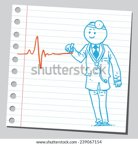 Doctor drawing heartbeat line - stock vector