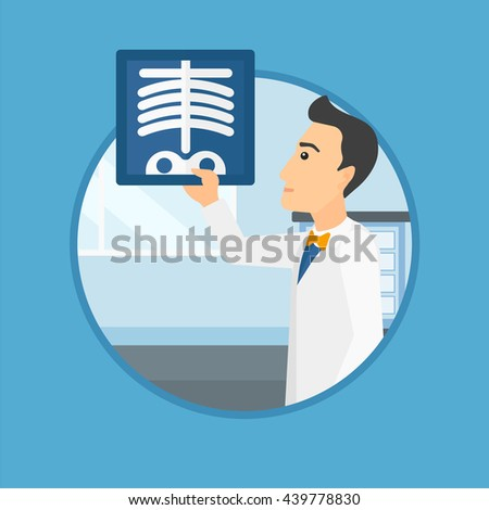 Doctor examining a radiograph. Doctor looking at a chest radiograph in the medical office. Doctor observing a skeleton radiograph. Vector flat design illustration in the circle isolated on background. - stock vector