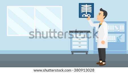 Doctor examining radiograph. - stock vector