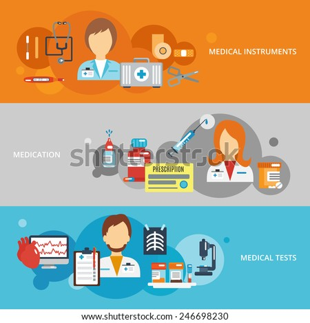 Doctor flat banner set with medical instruments medication tests elements isolated vector illustration - stock vector