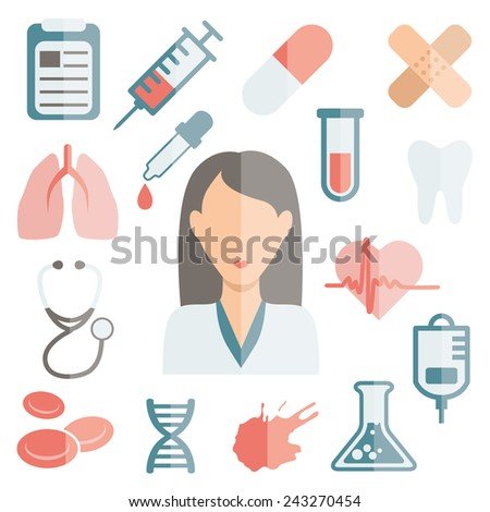 doctor flat icons - stock vector