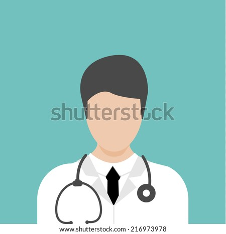 Doctor flat medical icon with male therapist, vector illustration - stock vector