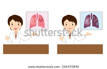 Doctor for a description of the lung - stock vector
