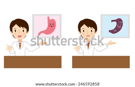 Doctor for a description of the stomach - stock vector