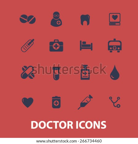 doctor, health, hospital icons, signs, illustrations design concept set. vector - stock vector