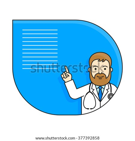 Doctor holding up his index finger. Vector illustration with character in line style and copy space.