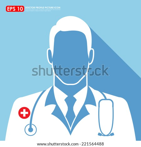 Doctor icon on blue background - stock vector