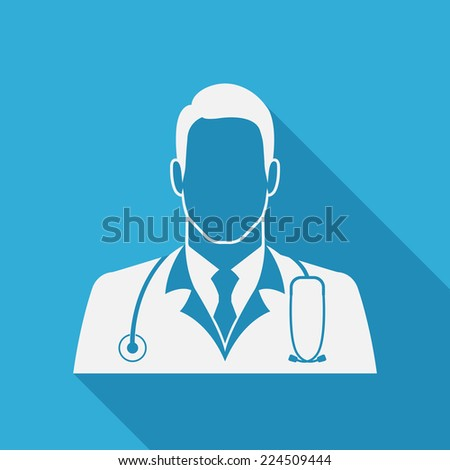 Doctor icon on blue background