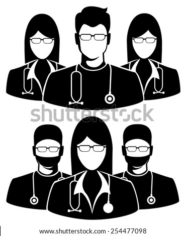 Doctor icon on white background. Illustration of three members of a medical team  - stock vector