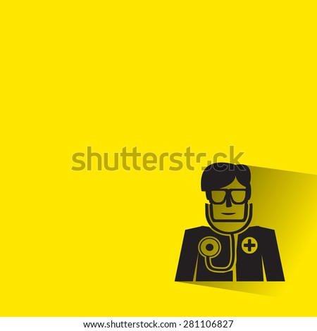 Doctor icon with long shadow on yellow background
