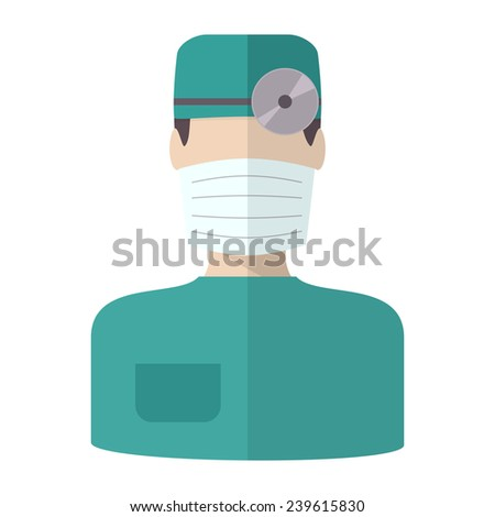 Doctor in bandage, flat vector isolated icon - stock vector