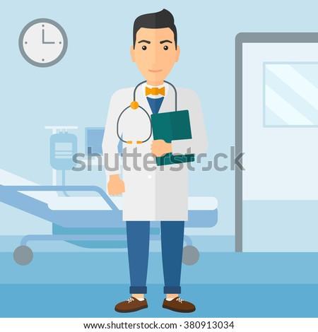Doctor in hospital ward. - stock vector