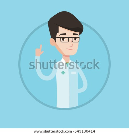 Doctor in medical gown showing finger up. Young caucasian doctor with finger up. Man in doctor uniform pointing finger up. Vector flat design illustration in the circle isolated on background.