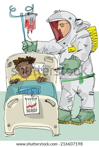 Doctor in protective suit assists the patient - cartoon