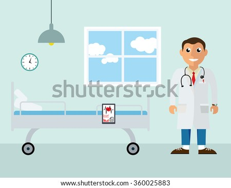 Doctor in the clinic. Vector background in flat design style