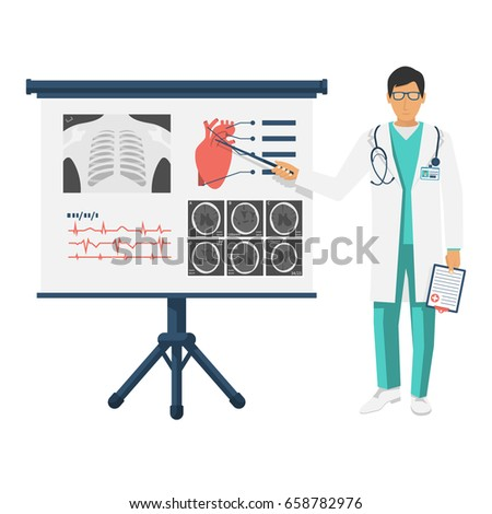 Doctor White Coat Pointer Near Board Stock Vector 658782976 ...