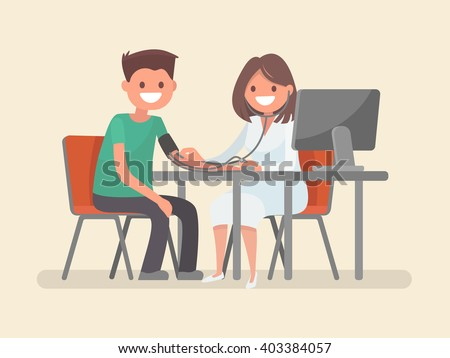 Doctor measures the blood pressure patient. Vector illustration - stock vector