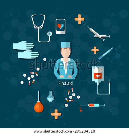 Doctor medicine first aid hospital stethoscope medical instruments syringes pills vector illustration