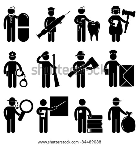 Doctor Nurse Dentist Judge Policeman Army Fireman Firefighter Postman Detective teacher Librarian Garbage Collector Job Occupation Sign Pictogram Symbol Icon