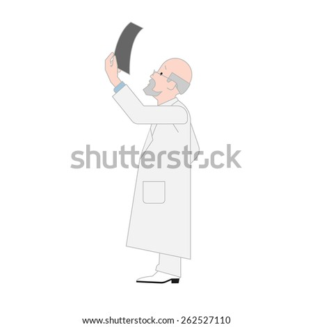 Doctor Orthopedist Looking a X-ray Image Isolated on a White Background. Vector Illustration - stock vector
