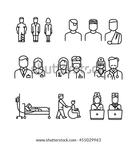 Doctor, patient, nurse thin line icons. Set of linear style doctor and nurse, vector woman and man doctors illustration