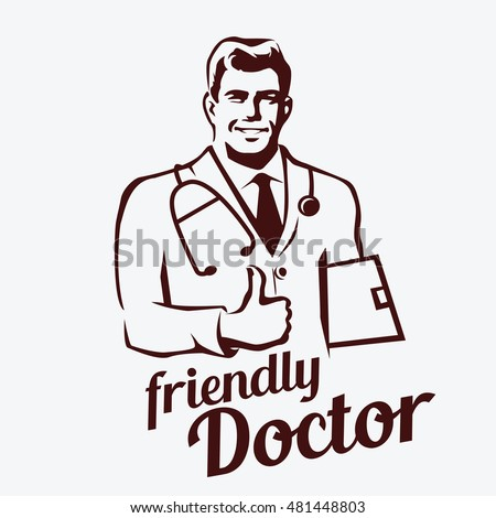 Doctor Portrait Retro Emblem Stylized Sketch Of Smiling