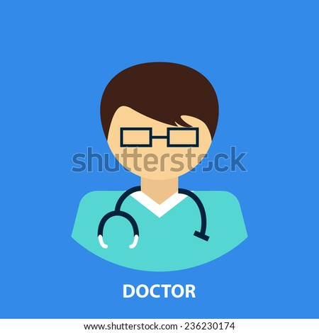 Doctor professional icon in flat style icons in circles.Vector illustration. - stock vector