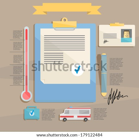 doctor's desk. infographic - stock vector