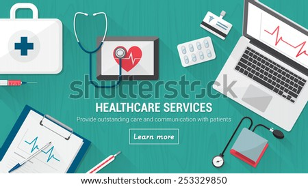 Doctor's desktop with medical and healthcare tools, computer and tablet - stock vector
