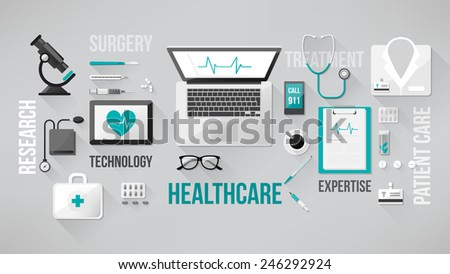 Doctor's desktop with medical healthcare tools and equipment, laptop, tablet and phone - stock vector