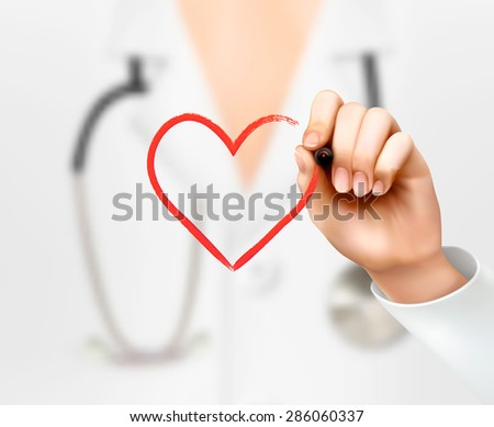Doctor's hand drawing a heart symbol. Vector.