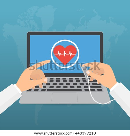 Doctor's hands with stethoscope and pointing computer laptop screen for telemedicine concept on blue background. Vector illustration healthcare on internet of think technology trend. - stock vector